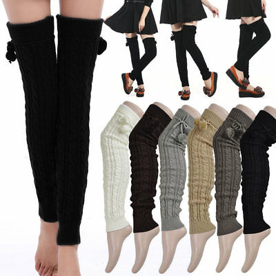 Leg Warmers Women Winter Thick Cable Knit Thigh-High Hosiery Socks Soft Pompom Cable Knit Leg Warmers