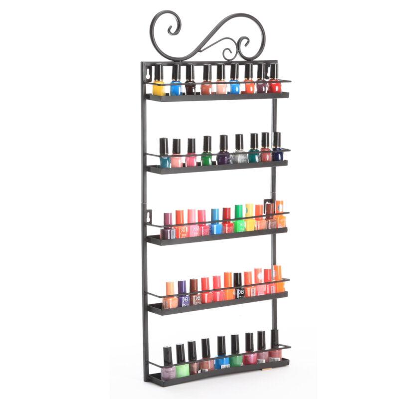 5 Tier Metal Nail Polish Wall Rack Display Organizer Shelf Holder 50+ bottles