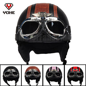 Motorcycle-Scooter-Open-Face-Leather-Half-Helmet-Vintage-Goggles-DOT-For-Harley