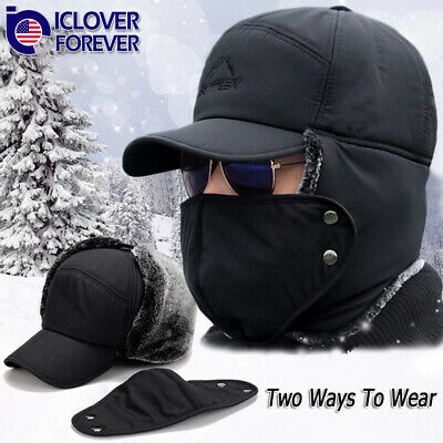 Men Winter Aviator Bomber Hat Trooper Ear Flap Snow Ski Elmer Fudd Mask Hood Cap Winter Ski Earflap