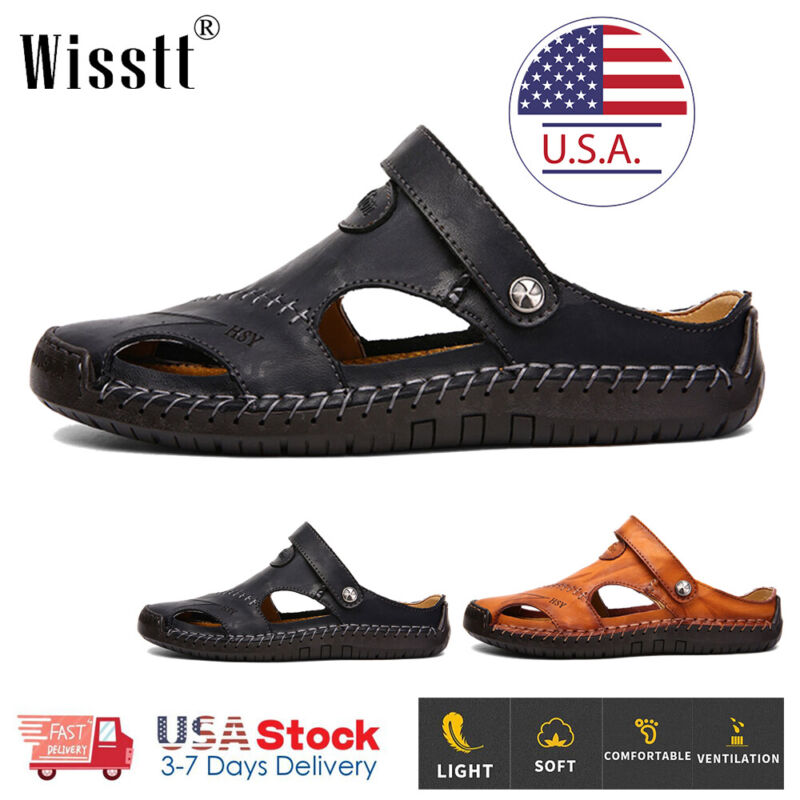 Mens Closed Toe Sandals Summer Leather Shoes Beach Fisherman Flat Slippers Size