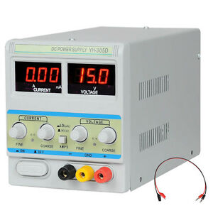 30V 5A 110V Precision Variable DC Power Supply w Clip Cable Digital Adjustable