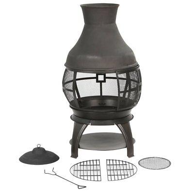 Cast Iron Chiminea Outdoor Patio Yard Fire Pit, firewood Burnning W/ log holder