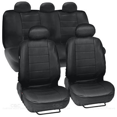 ProSyn Black Leather Auto Seat Covers for Honda Accord Sedan, Coupe Full (1989 Honda Accord Coupe)