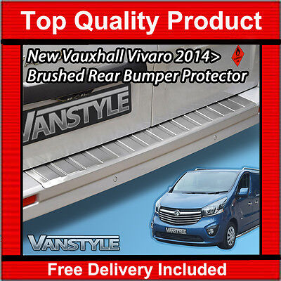 NEW VAUXHALL VIVARO 2014 ON TOUGH BRUSHED S.STEEL REAR BUMPER PROTECTOR RUGGED