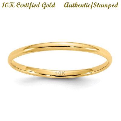 **10K Solid Yellow** Gold 2mm Size 8 Women's Wedding Engagem
