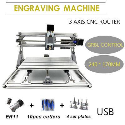 3 Axis Mini Diy Cnc 2417 Pcb Milling Carving Engraver Machine Kit Laser Usb
