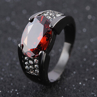 Size 8,9,10,11,12 Solitaire Red Garnet Fashion Black 18K Gold Filled Man's Rings