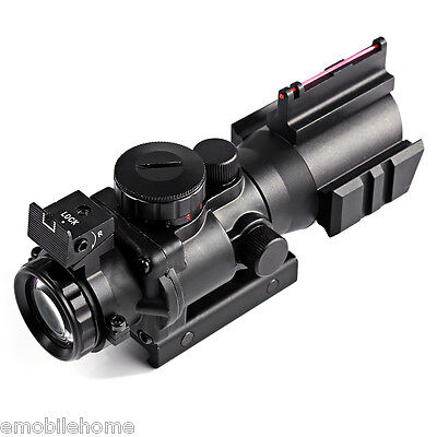 Hunting 4 X 32 Compact Red Dot Rifle Scope Fiber Sight for 20MM Rail 4 X 20 Compact
