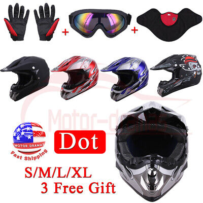 Adult Motorcycle ATV Motocross Offroad Helmet + Goggles + Gloves + Mask S/M/L/XL