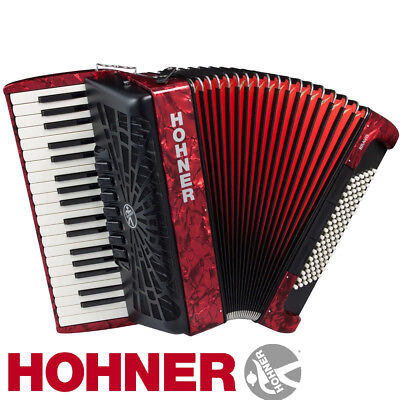 Hohner Chromatic Piano Accordion Bravo III 96, Pearl Red, with Gig Bag & Straps