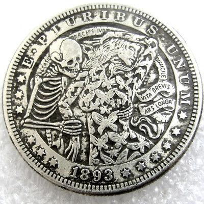 US 1893 Morgan Dollar skull zombie skeleton Coin