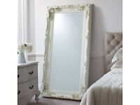 Extra large handcrafted solid wood ornate mirror, off-white, classic baroque style, stand or hang