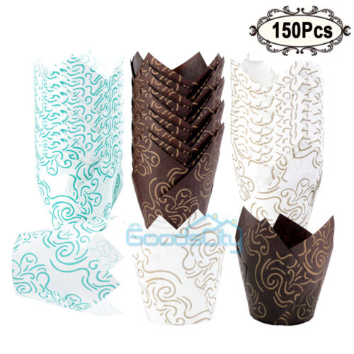 150-Pack 3 Colors Tulip Muffin Wrappers Large Cupcake Paper