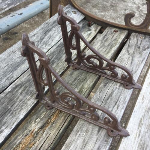 2 Cast Iron Antique Star Brackets Garden Braces Shelf Bracket RUSTIC Vintage