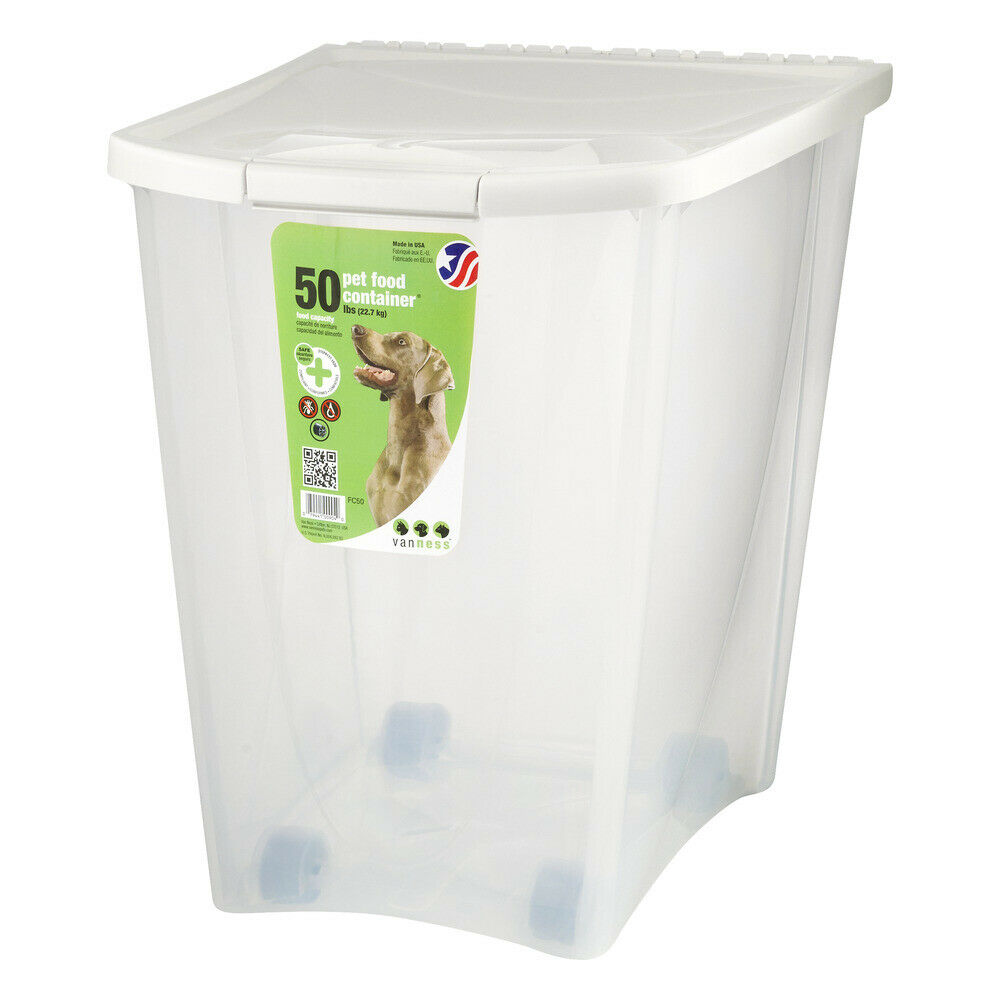 Pet Food Storage Container Plastic 50 Lb Dog Cat Dry-Foods D