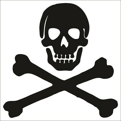 Cross Stickers (Skull and Cross Bones Decal / Sticker - Choose Color & Size - Jolly Roger)
