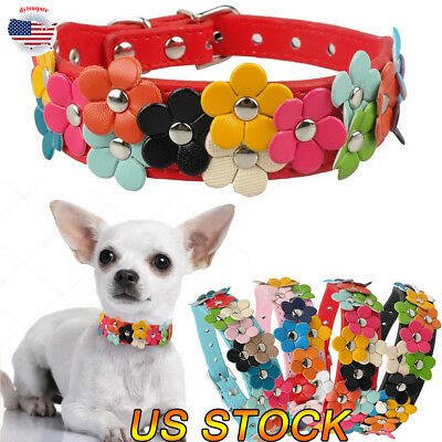 Flowers Dog Collar Collars - Dog Collar Puppy Pet Collor Small Medium Large Flower Studded Leather Coller US