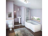 Full Bathroom Curved Showerbath Complete Suite. Toilet, Sink & Taps.