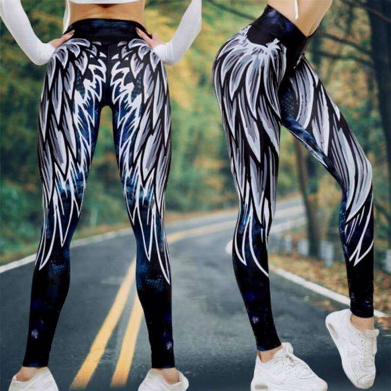 Women High Waist Sports Yoga Pants Leggings Printed Fitness Gym Stretch Trousers 6