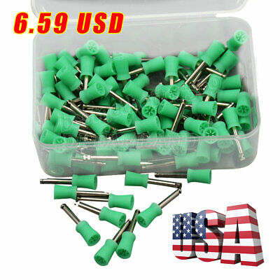 100pcs Dental Prophy Polishing Cup Cups Latch Fit Contra Angle Handpiece Green A