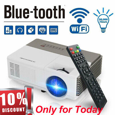 LED Smart Home Theater Projector Android 6.0 Wifi BT 1080p FHD HD Video Movie AV