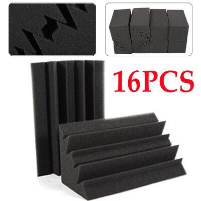 Studio Corner Acoustic Sound Panels 16PCS Bass Trap Black Tiles Acoustic Foam Acoustic Studio Bass Trap