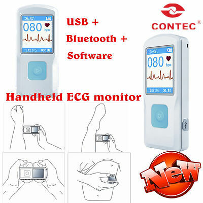 Pm10 Fda Handheld Portable Ecg Ekg Machine Heart Beat Monitor Lcd Usb Bluetooth