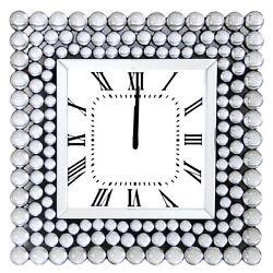Bione Square Mirrored Wall Clock Quartz Roman Numerals Crystal Decor 20 x 20