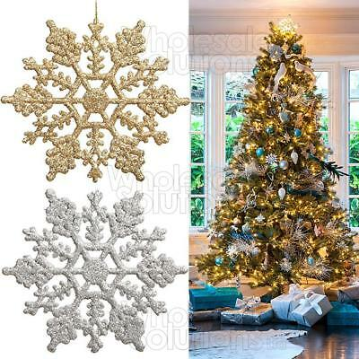 Christmas Glitter Snowflakes Decorations Xmas Tree Hanging Ornaments Gold Silver - Hanging Snowflakes
