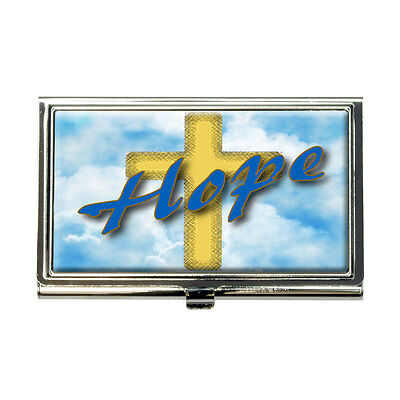 Hope Cross And Clouds Religious Inspiration Business Credit Card Holder Case