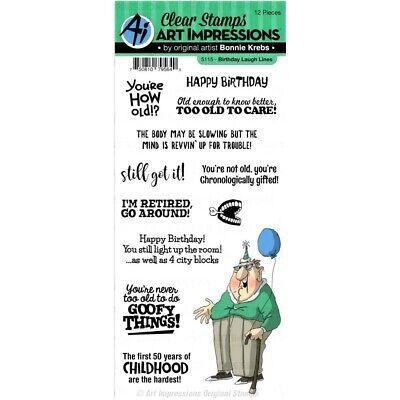 Art Impressions Laugh Lines Clear Stamp Set Birthday Line Stamp Sets