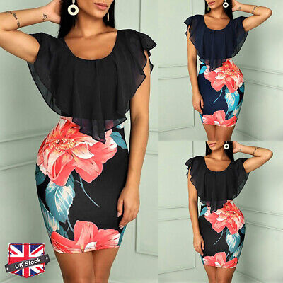 Womens Floral Batwing Sleeve Bodycon Mini Dress Ladies Party PencilSexy Dresses