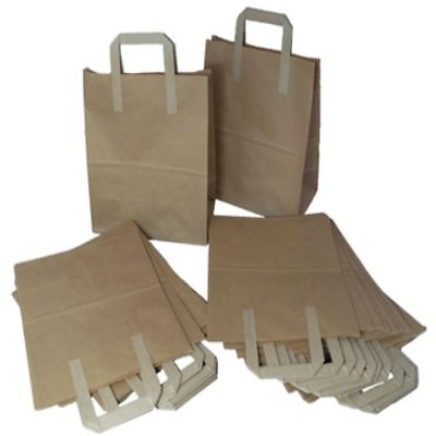 100 Brown Paper SOS Carrier Bags Size Medium 8x4x10