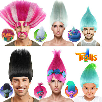 Trolls Poppy Elf Pixie Wig Fance Dress Up Cospaly Party Prop Adult Kid Hairpiece