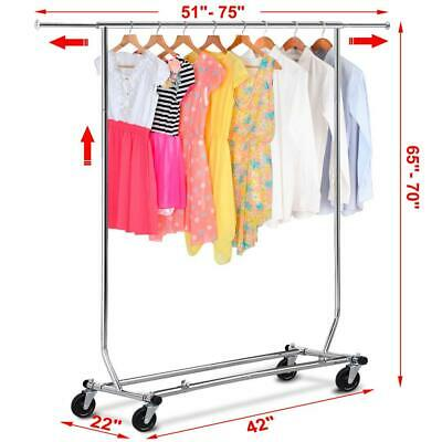 Premium Stainless Steel Clothing Garment Rack Heavy Duty Adjustable Collapsible