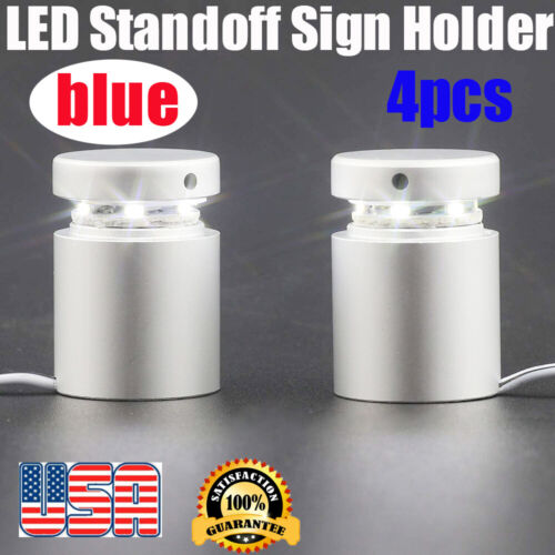 4PCS Blue LED Stand off Sign Holder Acrylic LED Panel Spacer Standoff Locator