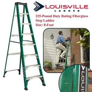 Used Louisville Ladder FS4008 225-Pound Duty Rating Fiberglass Step Ladder, 8-Foot Condtion: Used, No shipping