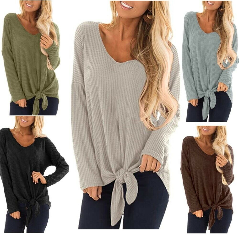 Women's Waffle Tunic Blouse V Neck Long Sleeve Tie Front Tops Soft Fashion Style Clothing, Shoes & Accessories