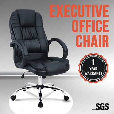 MODERN BLACK HIGH BACK EXECUTIVE OFFICE CHAIR LEATHER COMPUTER DESK FURNITURE