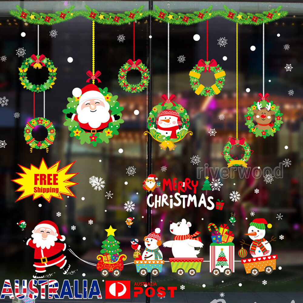 Home Decoration - Christmas Wall Stickers Adhesive Window Decals Santa Xmas Festival Home Decor
