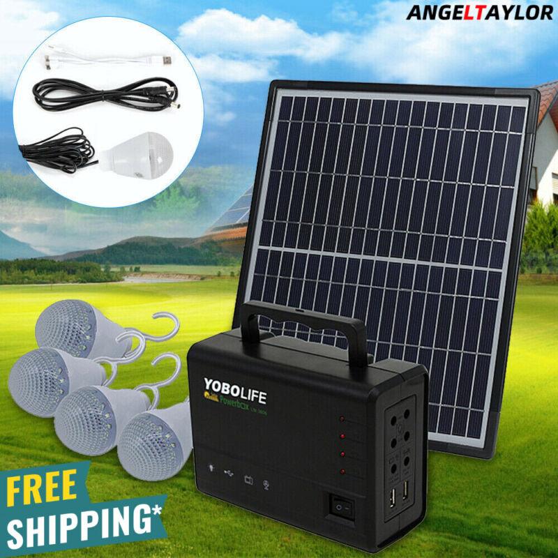 Solar Panel Power Generator Kit | Portable Battery Pack Power Station w/ 4 Bulbs