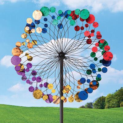 Metallic Kaleidoscope Wind Spinner Outdoor Lawn Decor Durable Metal Yard -