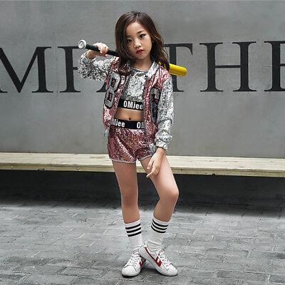 Mädchen Tanzkleidung Outfits Kinder Hip-Hop Tanzen Pailletten Jazzdance - Hip Hop Kostüm