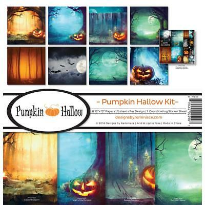 Scrapbooking Crafts 12X12 Paper Kit Pumpkin Hallow Moon Bats Halloween Forest](Halloween Pumpkin Paper Craft)