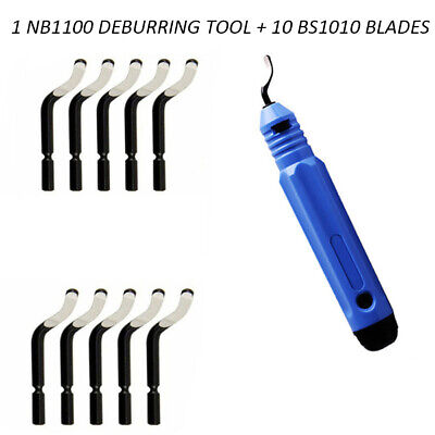 Nb1100 Burr Handle With 10pcs Bs1010 Blades Deburring Rough Edges Tool New Us
