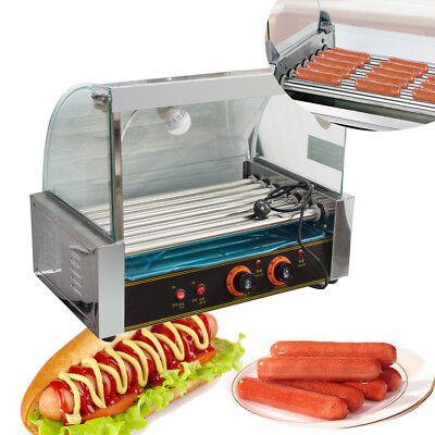 Usportable Commercial 18 Hotdog Hot Dog 7 Roller Grill Cooker Machine Wcover
