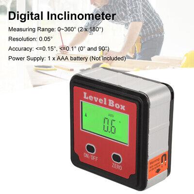 Digital Magnetic Base Inclinometer Mini Level Box 0-360 Angle Meter Bag Bi734