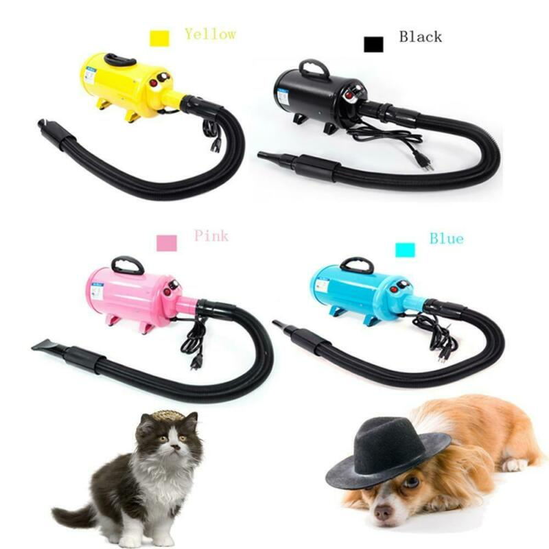 Pet Hair Dryer Quick Blower Heater w/ 3 Nozzles Dog Cat Grooming Black Pink Blue