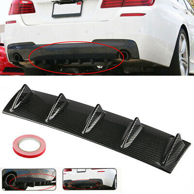 5 Fin ABS Car Lower Rear Body Bumper Lip Diffuser Shark Spoiler Gloss 23''x6''